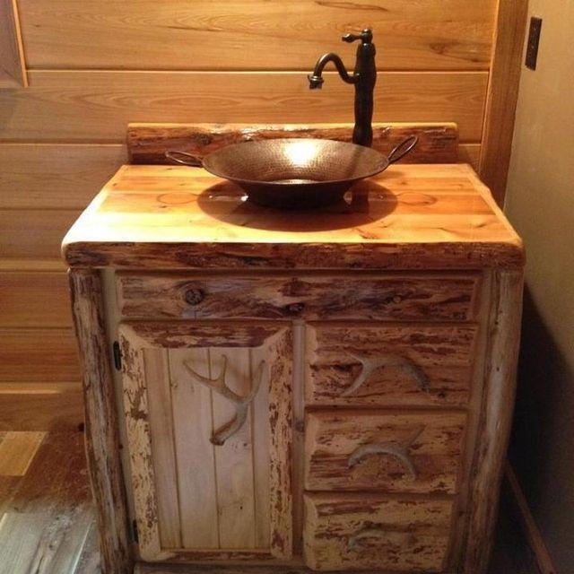 Custom Rustic Cedar Bathroom Vanity by King of the Forest Furniture | CustomMade.com