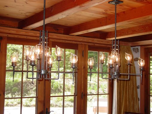 Custom Made Pair Of Dining Chandeliers