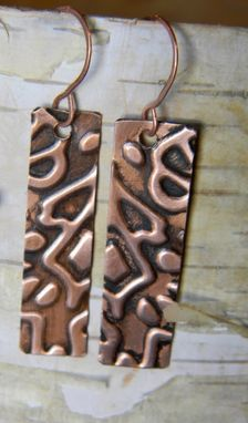 Custom Made Tall Copper Embossed Earrings