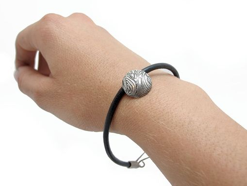 Custom Made Sterling Leather Bracelet - Textured Silver - Silver Charm Bracelet - Handmade Charm