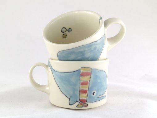 Custom Made Whale Espresso Cups - Pair Of Two Small Mugs - Made To Order