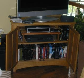 Custom Made Entertainment Center From Red & White Oak