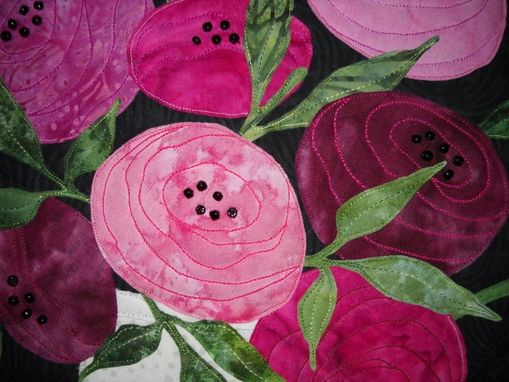 Custom Made Art Deco Roses Quilted Wall Hanging