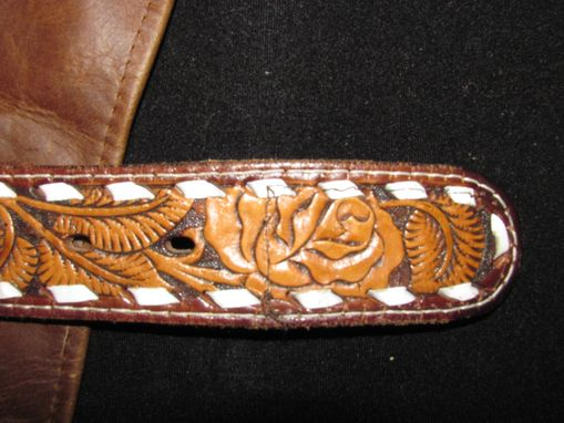 Custom Made Western Tooled Leather Fringed Dog Coat
