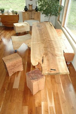 Custom Made Dining Table - Extremely Curly Maple Slab Table