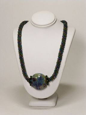 Custom Made Set - Matte Olive Rainbow Kumihimo Necklace With Lampwork Focal Bead And Matching Earrings