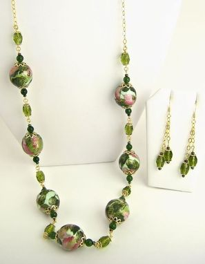 Custom Made Pink Elegance Washi Bead Necklace And Earrings Set