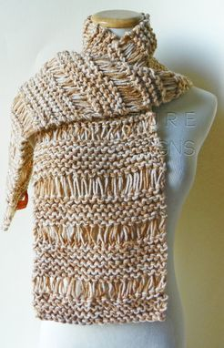 Custom Made The Urban Terrace Scarf And Brooch In Tan / On Sale Now
