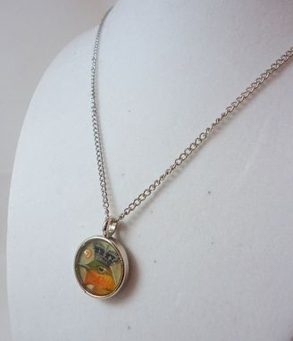 Custom Made Crystal Orange And Brown Hummingbird Resin Necklace In Silver Circular Bezel, Ooak
