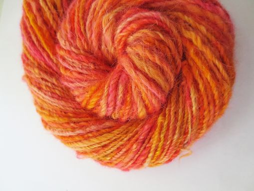 Custom Made Handspun Yarn / Hand Dyed Yarn / Variegated Yarn / Hand Spun Llama Yarn / Hand Spun Orange Yarn