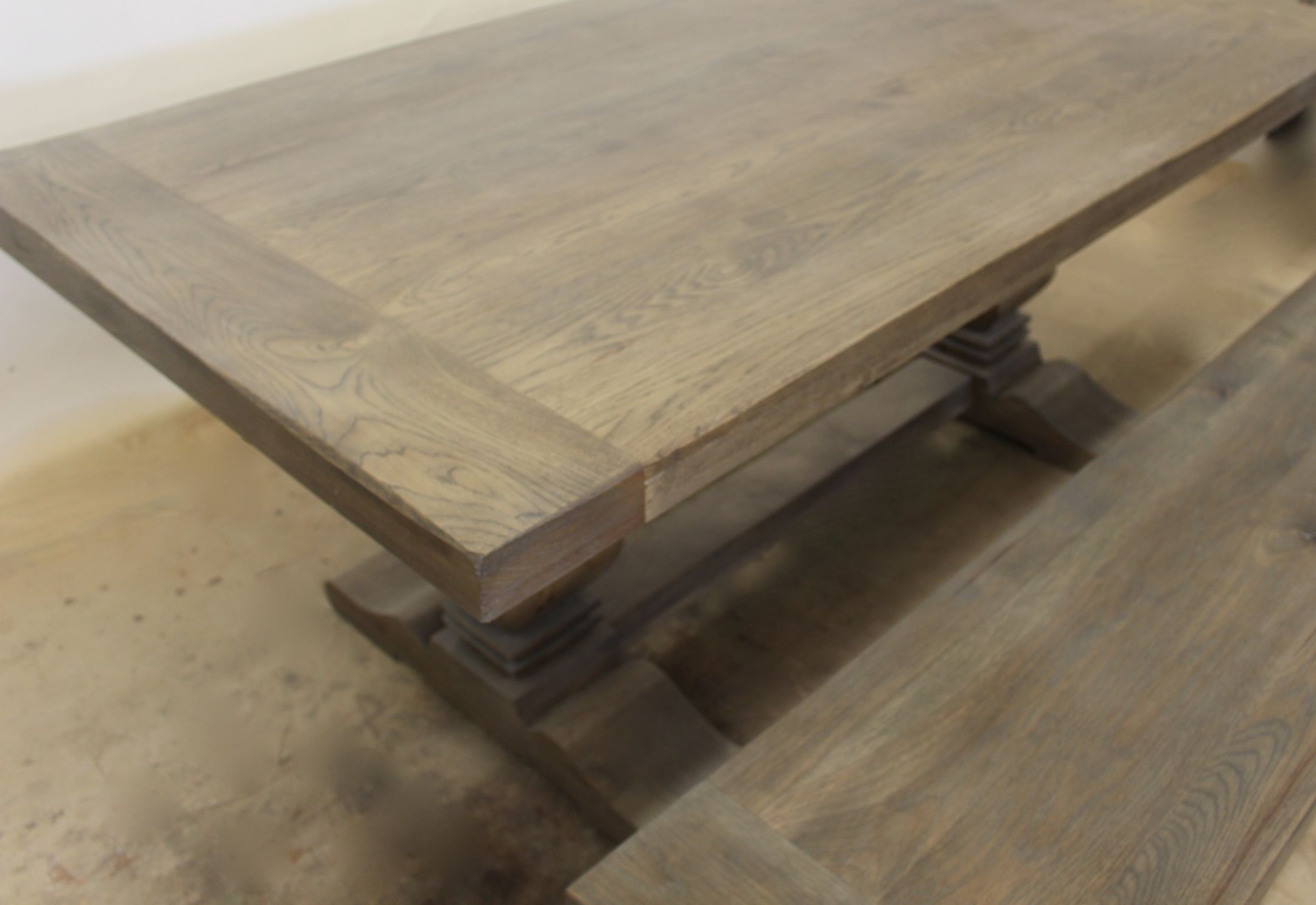 Custom Made Gray Wash Trestle Table W Extensions Available In