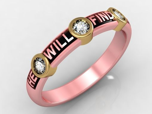 Custom Made 14 Kt Rose Gold Diamond With Inscription