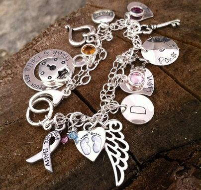 Custom Made Miscarriage Awareness Personalized Charm Bracelet Sterling Silver Hand Stamped