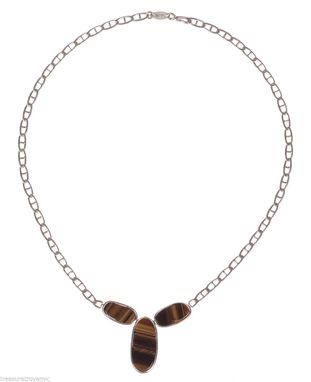 Custom Made Alberto Juan Bezel Set Orange Tiger Eye Sterling Silver Necklace