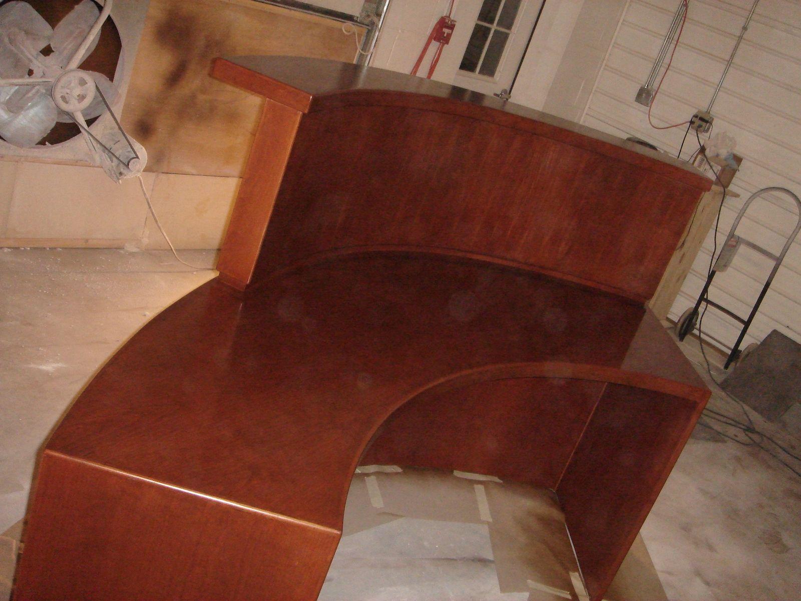Custom Curved Cherry Reception Desk By V S F Interiors