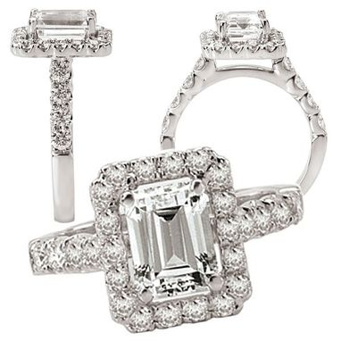 Custom Made 18k White Gold 8x6mm Emerald Cut Engagement Ring Semi-Mount With Natural Diamond Halo