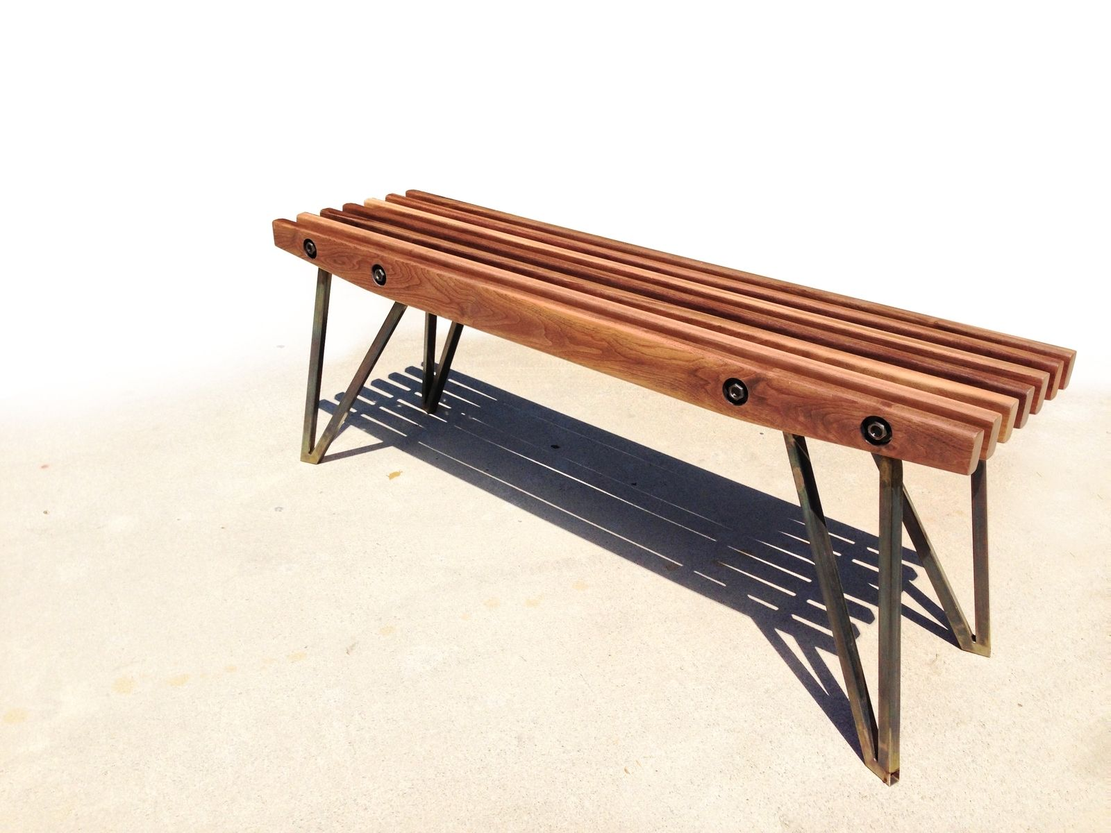 Hand Made Walnut Slat Bench by maneuverworks