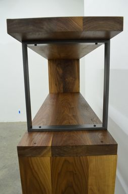 Custom Made Walnut Wood And Steel Ribbon Bookshelf
