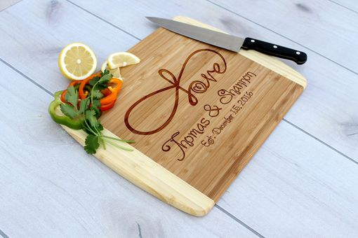 Custom Made Personalized Cutting Board, Engraved Cutting Board, Custom Wedding Gift – Cb-Bam- Infinity