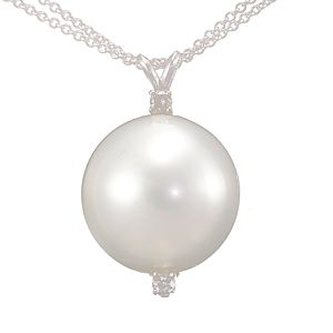 Custom Made Fresh Water Pearl & Diamond Drop Down Pendant In 14k White Gold, Pearl Pendant