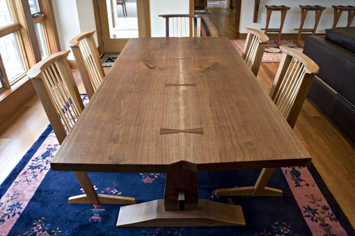 Custom Made Book Matched Walnut Trestle Dining Table