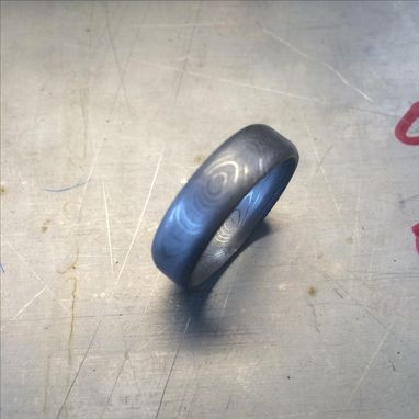 Custom Made Herringbone Stainless Damascus Rings