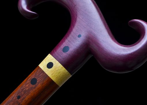 Custom Made Handmade Walking Cane In Purpleheart, Yellowheart, Paduak, And African Blackwood - Walking Stick