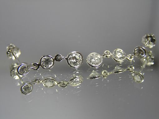 Custom Made Three Stone Graduated Drop Round Diamond Bezel-Set Dangle Earrings, Available With Fewer Or More Diamonds, As Well As In Other Sizes Or Using Gem Stones.  Rea29whs