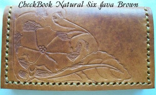 Custom Made Custom Leather Checkbook Cover With Natural Design 6 In Java Brown