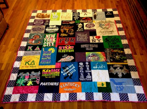 Custom Made Custom High School - College Sorority Tshirt Clothing Quilt With Blocked Border