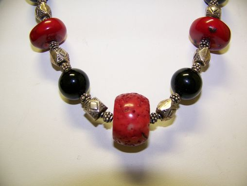 Custom Made Dynamic Statement Necklace Of Bamboo Coral And Black Onyx, Bali Silver Accents, Easy Sterling Clasp