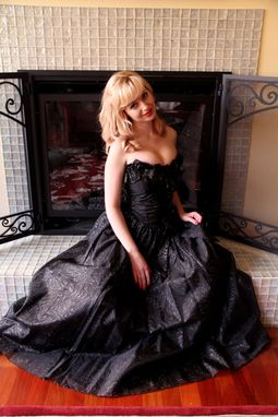 Custom Made Vintage 60s Strapless Floor Length Sexy Buster Madmen Party Dress In Black Cotton Voile