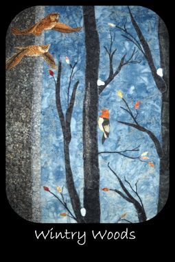 Custom Made Wintry Woods Quilted Wall Hanging