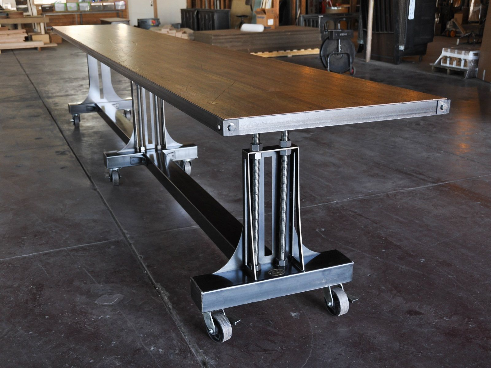 Custom Post Industrial Conference Table By Vintage Industrial LLC - Conference table bases metal