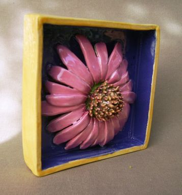 Custom Made Pink Daisy Delight Ceramic Shadow Box Wall Decor