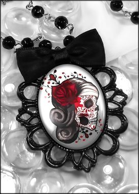 Custom Made Dead Girl Dia De Los Muertos Black Filigree Necklace 73-Jbbpn