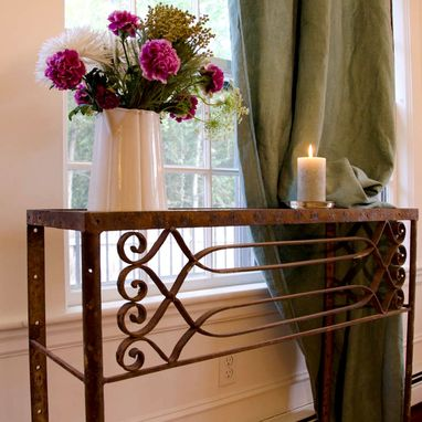 Custom Made Wrought Iron Console Balkoun With Glass Top