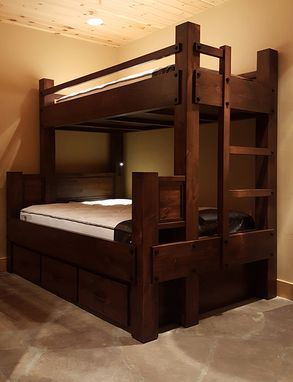 Custom Made Twin Xl Over Full Bunk Bed With Drawer Storage