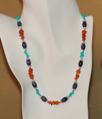 Custom Made Sodalite, Sleeping Beauty Turquoise And Amber Chips Necklace In Silver-Plated