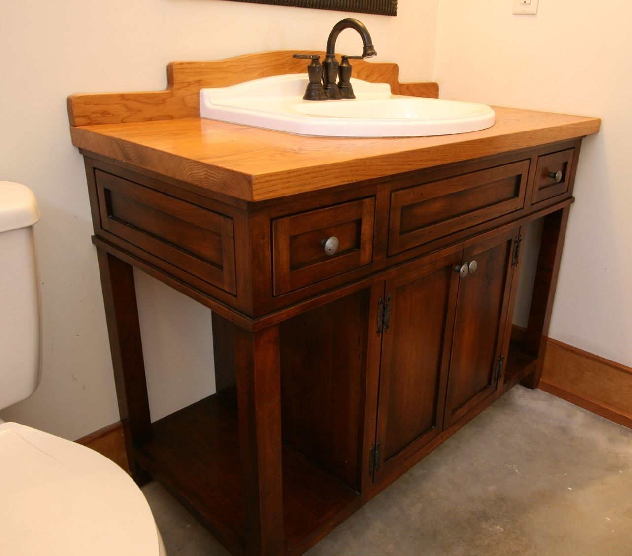 Custom Made Custom Wood Bath Vanity With Reclaimed Sink - Hand Crafted Custom Wood Bath Vanity With Reclaimed Sink By MOSS