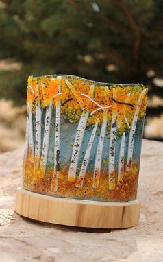Custom Made Aspen Fused Glass Votive