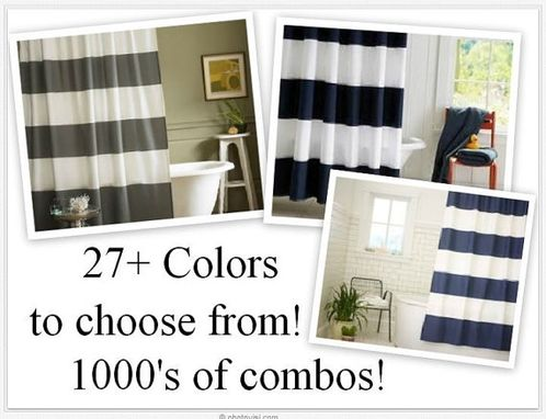 Custom Made Stunning 9 Inch Chunky Striped Shower Curtains In Standard Sizes And More
