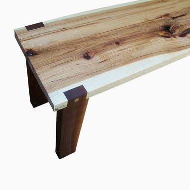 Custom Made Handmade Hickory Slab And Walnut Bench