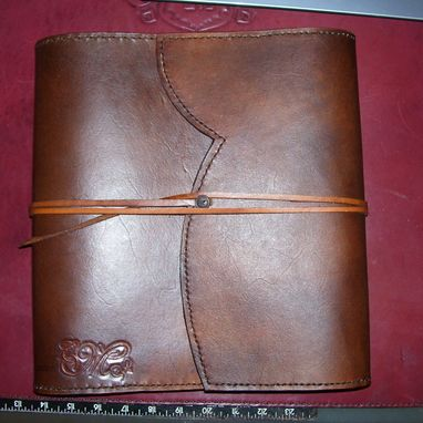Custom Made Custom Leather Journal With Wrap Around Flap & Long Strap