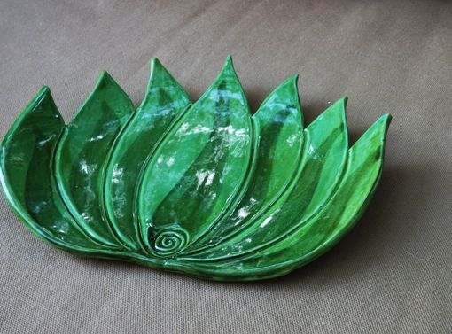 Custom Made Large Agave Plate, Ceramic Spoon Rest.