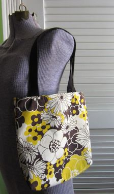 Custom Made Upcycled Tote Bag Made From A Pair Of Vintage Black And Yellow Floral Napkins