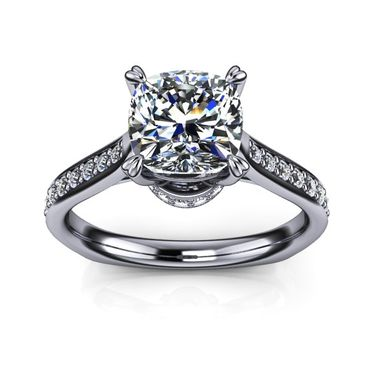 Custom Made Diamond Cathedral Engagement Ring
