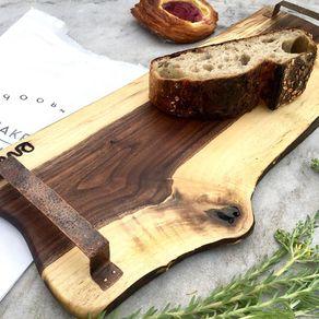 Cheese Board Butcher Block Rustic Kitchen Decor 17.5 Solid Black Walnut Live Edge Wood Cutting BoardCharcuterie Board with Iron Handles