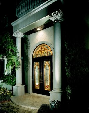 Custom Made Stained Glass Entry Doors And Transom In A Moorish Style For This Custom Home In A Gated Community