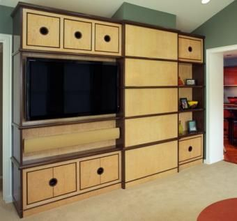 Custom Made Birdseye Maple And Walnut Media Cabinet